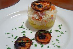 Basmati sobre Crosta de Parmesão e Tomates Grelhados