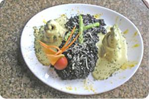Risoto Negro ao Suavignon com Rolet's de Truta